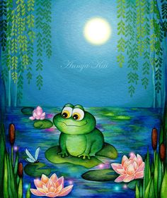 Frog Firefly Lily Pond - Whimsical Nursery Decor Green Blue Wall Art  - Water Lilies Print