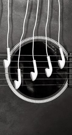 Headphones and a guitar. HD iOS7 HD wallpaper for iPhone and iPod touch.