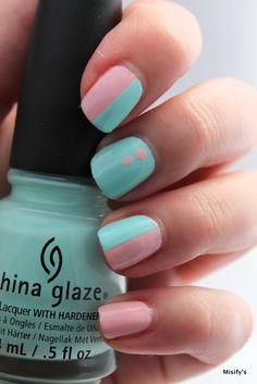 Straight Lines. China Glaze - Spring In My Step / China Glaze - At Vase Value / Nail Tape