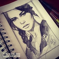 The Girl on Fire by Lady 2  | First pinned to Celebrity Art board here... http://www.pinterest.com/fairbanksgrafix/celebrity-art/ #Drawing #Art #CelebrityArt