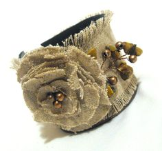 Leather and linen bracelet by julishland