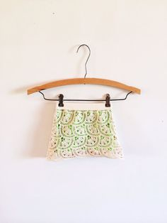 Cream crochet and neon green infant and toddler skirt