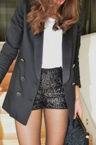 How To Wear White Shorts Black Blazers 63 Ideas Sparkly Shorts, Sequin Shorts, Dressy Shorts, Sexy Shorts, Short Shorts, Black Shorts, Short Outfits, Cute Outfits, Street Chic