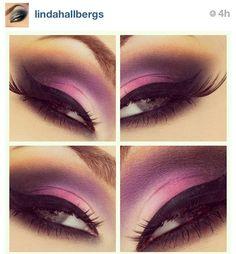 Pink & purple smokey eye with winged liner & fake lashes. Fall Makeup, Love Makeup, Beauty Makeup, Makeup Looks, Awesome Makeup, Gorgeous Makeup, Makeup Geek, Purple Smokey Eye, Purple Eyeshadow