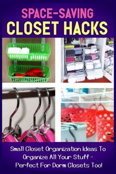 Awesome Space-Saving Closet Organization Hacks - DIY organizing tips, tricks and ideas for small closets and dorm room closets to make more space to keep your closet clean and organized.even if you have too much STUFF and are organizing on a budget! Dorm Closet Organization, Dorm Room Closet, Closet Hacks, Home Organization Hacks, Organizing Tips, Closet Storage, Kitchen Organization, Bedroom Storage Ideas For Clothes, Bedroom Ideas For Small Rooms Diy