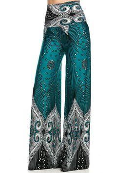Colorful Women's Teal Border Printed Print Palazzo Pants High Waist Click picture to enlarge Comfy Pants, Leggings Are Not Pants, Printed Palazzo Pants, Wide Leg Palazzo Pants, Fashion Vestidos, Boho Fashion, Fashion Outfits, Pantalon Large, Bohemian Mode