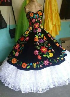 Pin by norma millan on vestidos xv años mexicanos Quince Dresses Mexican, Mexican Quinceanera Dresses, 15 Dresses, Pretty Dresses, Fashion Dresses, Girls Dresses, Mexican Fashion, Mexican Outfit, Mexican Traditional Clothing
