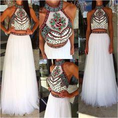 2017 Two Piece Prom Dress, White Long Prom Dress Graduation Dress