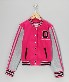 Take a look at this Dollhouse Hot Pink Varsity Jacket - Girls by Dollhouse on #zulily today!