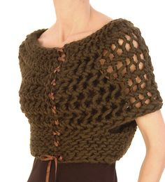 One size fits most because of how the openwork pattern stretches. I had a trunk show and saw this piece on many body types; it looked great on all of them. The bolero uses one skein of Magnum and #17 & #19 needles, straight or circulars since the piece is worked flat.
