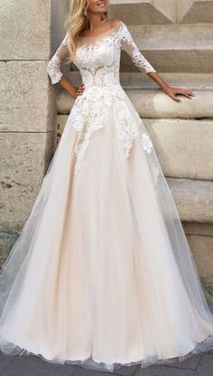 3-4-Sleeve-Lace-Bridal-Wedding-dresses-A-line-Tulle-Gowns-2-4-6-8-10-12-14-16