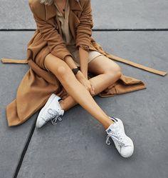 maxi camel coat & stan smith sneakers #style #fashion