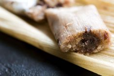 Chocolate Tamales With Pecans And Dried Cherries Chocolate Tamales With Pecans Recipe (omit cinnamon & cherries; combine pecan w/chocolate in the center. Oh yea! Cherry Recipes, Pecan Recipes, Cooking Recipes, Mexican Dishes, Mexican Food Recipes, Dessert Recipes, Mexican Desserts, Hispanic Desserts, Mexican Appetizers