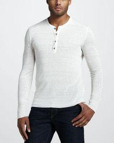 John Varvatos Linen Henley Sweater, Ivory - Neiman Marcus