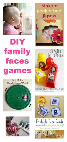 Such clever DIY ideas for family faces games - lovely for babies and toddlers, and for learning about emotions.
