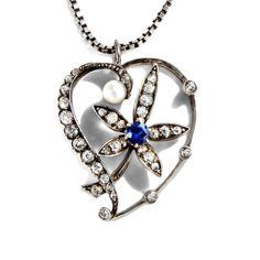 Au l'air du printemps - Traumhafter Jugendstil-Anhänger mit Saphir, Perle & Diamanten, um 1900 von Hofer Antikschmuck aus Berlin // #hoferantikschmuck #antik #schmuck #antique #jewellery #jewelry