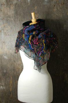 Nuno felted scarf wool scarf Felted collar nuno felted by AnnaWegg