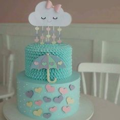 Cute shower cake for a baby shower Baby Cakes, Baby Shower Cakes, Baby Shower Parties, Baby Shower Themes, Cupcake Cakes, Cloud Party, Cloud Cake, Novelty Cakes, Cute Cakes
