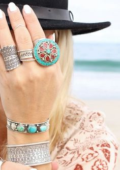 Bohemian Style Silver Cuffs and Rings..☮♥♓