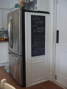 Chalk board paint out side of the cabinets holding the cleaning supplies – Top Trend – Decor – Life Style Refrigerator Covers, Refrigerator Cabinet, Kitchen Redo, Kitchen Remodel, Kitchen Cabinets, Kitchen Ideas, Fridge Decor, Cuisines Design, Updated Kitchen