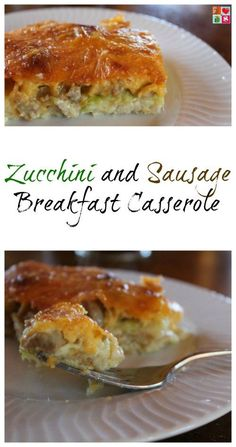 Zucchini and Sausage Breakfast Casserole Recipe on Having Fun Saving and Cooking.  This Zucchini and Sausage breakfast casserole recipe is delicious, has hidden vegetables, and you can make it the night before!