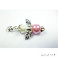 Charm Schutzengel  rosa Perle  im Organza Beutel