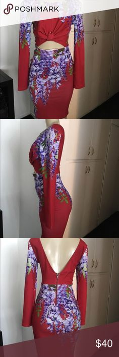 Red Cut Out Mid floral  Dress Size 8 Pre owned . Excellent conditions .brand: Ginger Fizz. It's a size U.K. 10 but USA can fit 6-8 . Size medium . Stretchy material .. Ginger Fizz Dresses Midi
