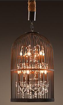 DIY birdcage chandelier - could paint white or maybe pink