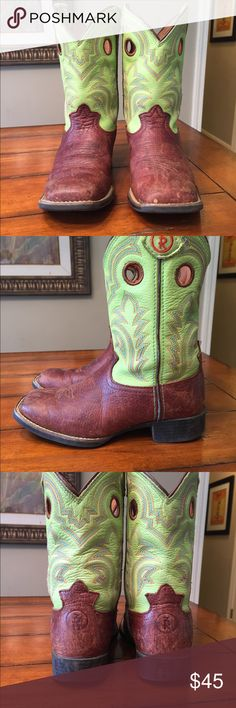 Tony Lama boot size 11 1/2 Gently worn lime green and brown Tony Lama girls boots size 11 1/2 Tony Lama Shoes Boots