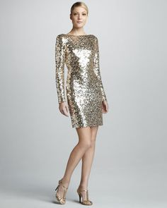 Sequined Scoop-Back Long-Sleeve Cocktail Dress by Badgley Mischka at Neiman Marcus.