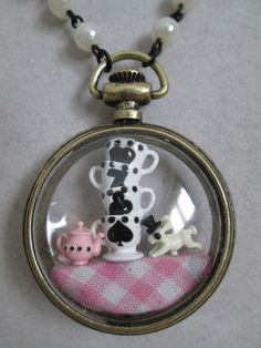 NWT Betsey Johnson Alice in Wonderland Tea Party Clear Watch Pendant Necklace