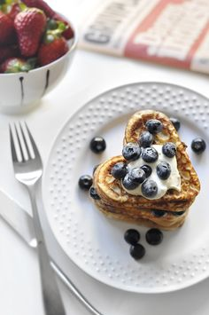 "Say ""good morning"" to your honey this Valentine's Day with heart shaped pancakes & fresh berries."