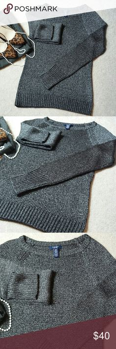 "*Chaps Grey/Silver Metalic Knit Crewneck Sweater* *Excellent Condition!! Beautiful grey/silver metalic sweater w/ an elegant shine. Length: 25.5"", Pit-to-Pit: 17"". 73% Acrylic, 27% Nylon. Ask any questions. Happy Poshing!!* Chaps Sweaters Crew & Scoop Necks"