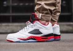 "Low air Jordan retro 5 ""Fire Red"" on feet"