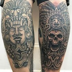 Aztec tattoos feature intricate details and vibrant color. They depict the Aztec gods and civilization. These tattoos date back to the century. Tattoo Aztecas, Inka Tattoo, Tattoo Photo, Calf Tattoo, Samoan Tattoo, Chicano Tattoos, Skull Tattoos, Sexy Tattoos, Body Art Tattoos