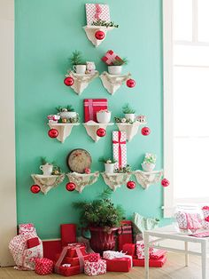 We love this new take on trees! It's a fun and modern place to put your presents: http://www.bhg.com/christmas/crafts/paper-fabric-christmas-crafts-decorations/?socsrc=bhgpin110713newtakeontrees&page=8