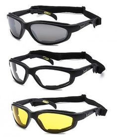 Choppers 3 Pair Chopper W Strap Wind Resistant Sunglasses Motorcycle Riding Glasses Combo C18 Goggle Matte Black Smoke Clear & Yellow Plastic 100% Uv400 Anti-reflective Taiwan