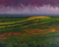 """Veoleh"" by Jerry Moon Fine Art-Oil-Landscape-Painting-Kansas City, Missouri-Midwest-Sky-Clouds-Storm-Grey-Violet-Green-Dramatic-Rain-Flint Hills"