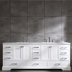Shop for Eviva Storehouse 84 Inch White Bathroom Vanity. Get free delivery On EVERYTHING* Overstock - Your Online Furniture Outlet Store! Dark Gray Bathroom, Grey Bathroom Vanity, Bathroom Red, Small Bathroom Vanities, Grey Bathrooms, Vanity Sink, Bathroom Storage, Bathroom Ideas, Master Bathroom