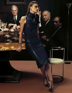 Annabelle Tsaboukas for IO Donna - Jacob Cohen leather top, Dior leather pencil skirt