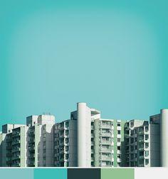 Bien connu pour ses clichés d'architectures, le photographe Nick Franck a analysé les différentes notes de couleurs présentes dans ses photos et en a dressé des échantillons de Pantones. Avec un fond monochromé, l'artiste présente une série très conceptuelle avec un graphisme minimaliste très réussi.