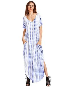 MakeMeChic Casual Maxi Short Sleeve Split Tie Dye Long Dress Blue XS *** You can find out more details at the link of the image.