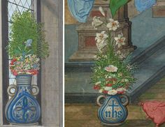 Left: The Author in his Study (detail), about 1530–40, Simon Bening. Tempera…