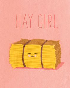 """Hay Girl"" Card, handcrafted in the Philippines by women survivors of sex trafficking from handmade, environmentally sustainable recycled papers. Punny Puns, Cute Puns, Funny Cute, Hilarious, Cheesy Puns, Pun Card, Bad Puns, Humor Grafico, Cute Cards"