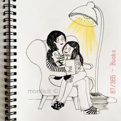 Monila handmade,illustration, illustrazione,i ghirigori di Monila,libri,books,family