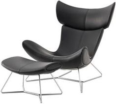 Imola chair and footstool, shown in black Salto leather with brushed steel base.