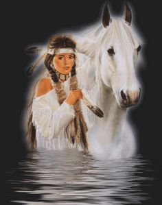 images of native american indian healing gardens | Indian Maiden and White Horse In Water Picture