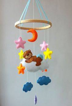Bear Baby mobile Nursery mobile Baby crib mobile Baby by ZooToys