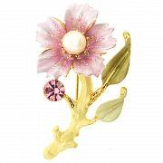 Rose Flower with Pearl Swarovski Crystal Pin Brooch