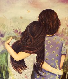 Claudia Tremblay > mother and daughter lavender tones Mother And Daughter Drawing, Mother Art, Daughter Love, Daughters, Best Friend Drawings, Bff Drawings, Claudia Tremblay, Fine Art Paper, Art Girl